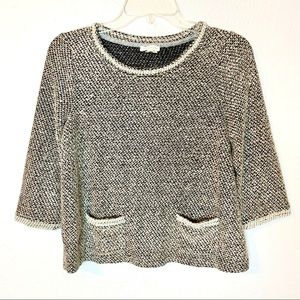 Anthropologie meadow rue boxy pearl trim top